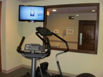New HDTV in Exercise Room: Photo of new HDTV installed in the exercise room.